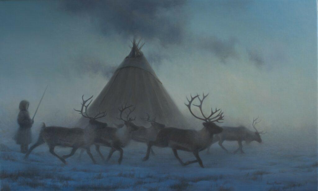 True North  • 2019  •  22 x 36  •  oil on linen  • indigenous reindeer camp, arctic